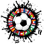 Soccer emblem With Ball, Cheering Fans, and Circle of Flags 2018