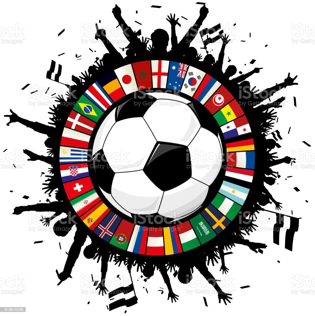 Soccer emblem With Ball, Cheering Fans, and Circle of Flags 2018 vector art illustration