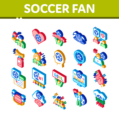 Soccer Fan Attributes Isometric Icons Set Vector
