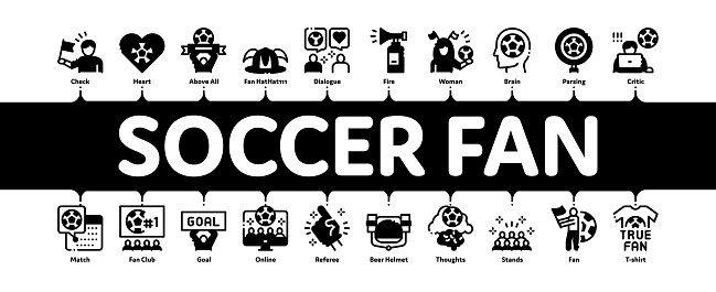 Soccer Fan Attributes Minimal Infographic Banner Vector