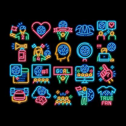Soccer Fan Attributes neon glow icon illustration