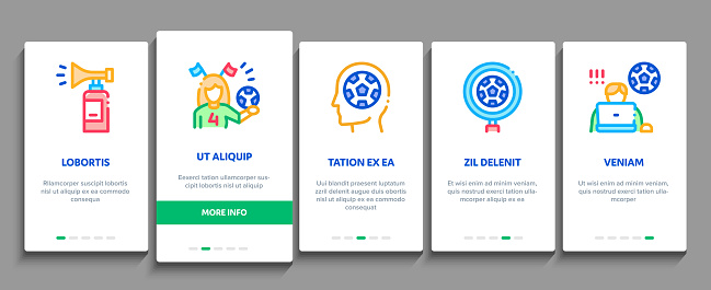 Soccer Fan Attributes Onboarding Elements Icons Set Vector