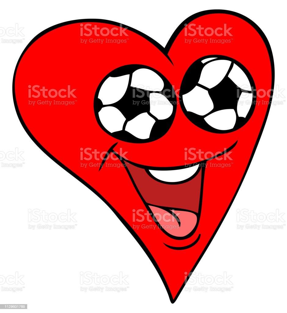 Ilustração em vetor futebol fã coração - ilustração de arte em vetor