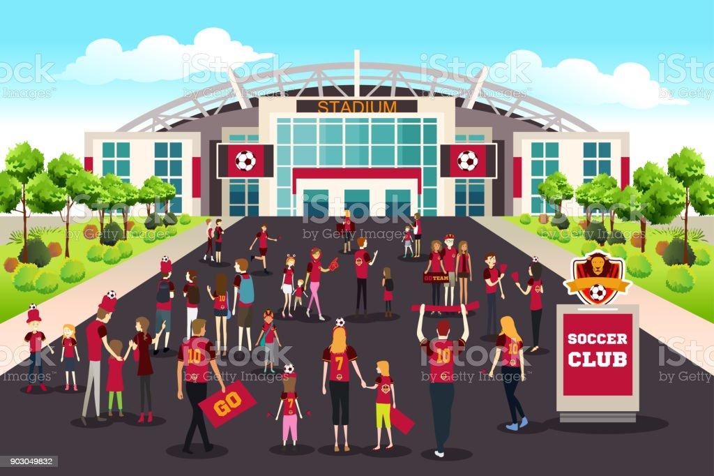 Fussballfans Wollen Stadion Illustration Stock Vektor Art Und