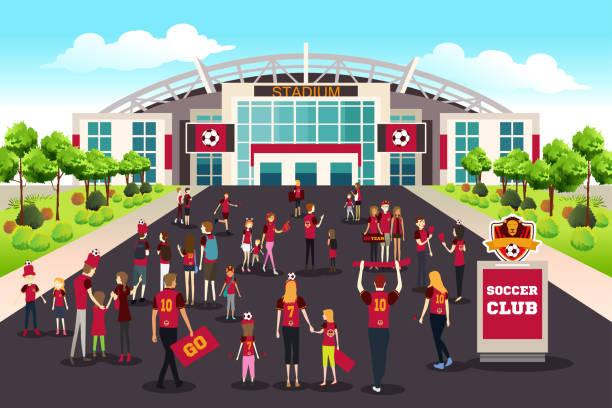 Soccer Fans Going to Stadium Illustration vector art illustration