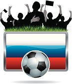 Soccer Fans with flag of Russia