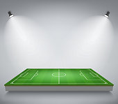Soccer field illuminated with lights, European Football stadium with spotlights. Perspective elements. Green court for sport game. Playgroung template. Vector