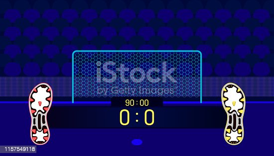 istock soccer field. football boots different team match show name bar time and score on center point. a goal in front of fan club chair. beautiful color background. vector illustration eps10 1157549118