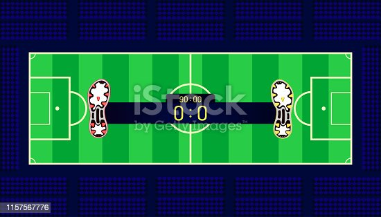 istock soccer field. football boots different team match show name bar time and score on center point. a goal in front of fan club chair. beautiful color background. vector illustration eps10 1157567776