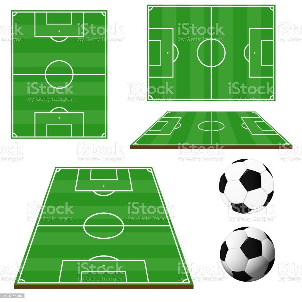 Fussballplatz Isoliert Auf Weissem Hintergrund Mit Ball Stock