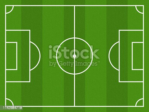 istock Soccer field realistic texture of a green lawn. Soccer background 1142584719