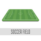 Soccer field side view. Football Field in Perspective. The standard layout of the playing area. Vector illustration EPS 10.