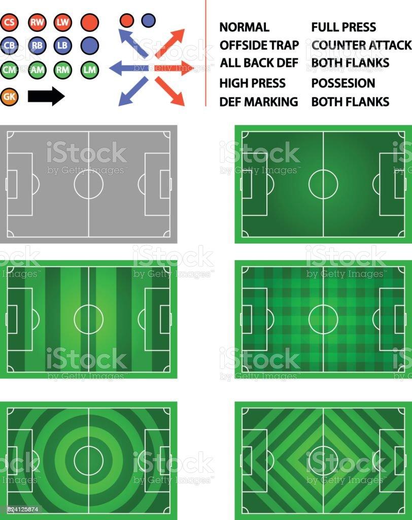 gráfico de elemento do futebol campo estratégia plano - ilustração de arte em vetor