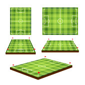 Soccer field. Vector design elements in perspective view variants