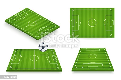 Soccer field vector illustration. Football field set in various angle views. 3d icon isolated on white. Element for your design.