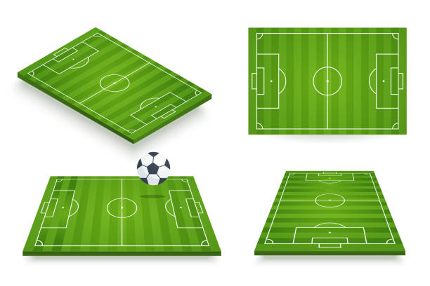 soccer field vector illustration. football field set in various angle views. 3d icon isolated on white. element for your design. - football field stock illustrations