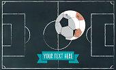 soccer field vector illustration on chalkboard