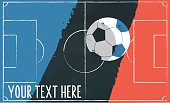 soccer field vector illustration on chalkboard with french colors