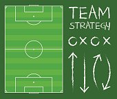 Soccer Field With Team Strategy Chart Vector