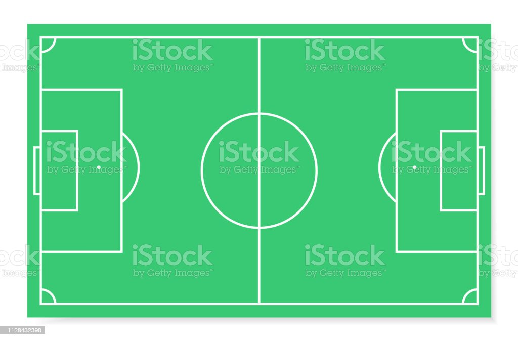 Soccer field with white markings and realistic grass, top view. Flat...