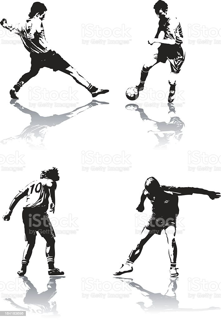 Soccer figure icons in black and white vector art illustration