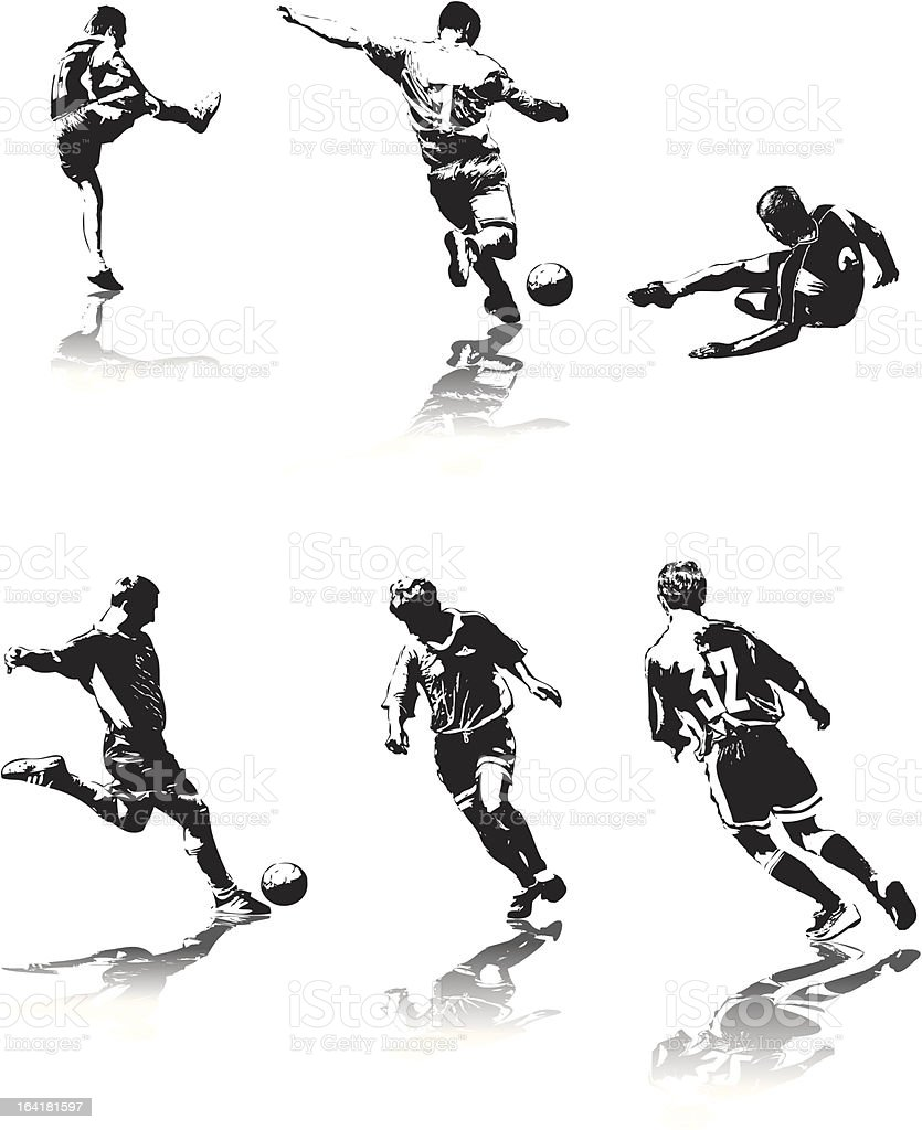 Soccer figures #3 vector art illustration