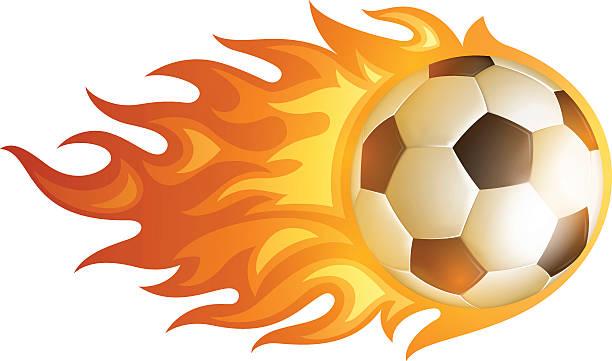 Soccer Flame Ball vector art illustration