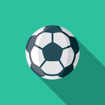 Soccer Flat Design Sports Icon with Side Shadow