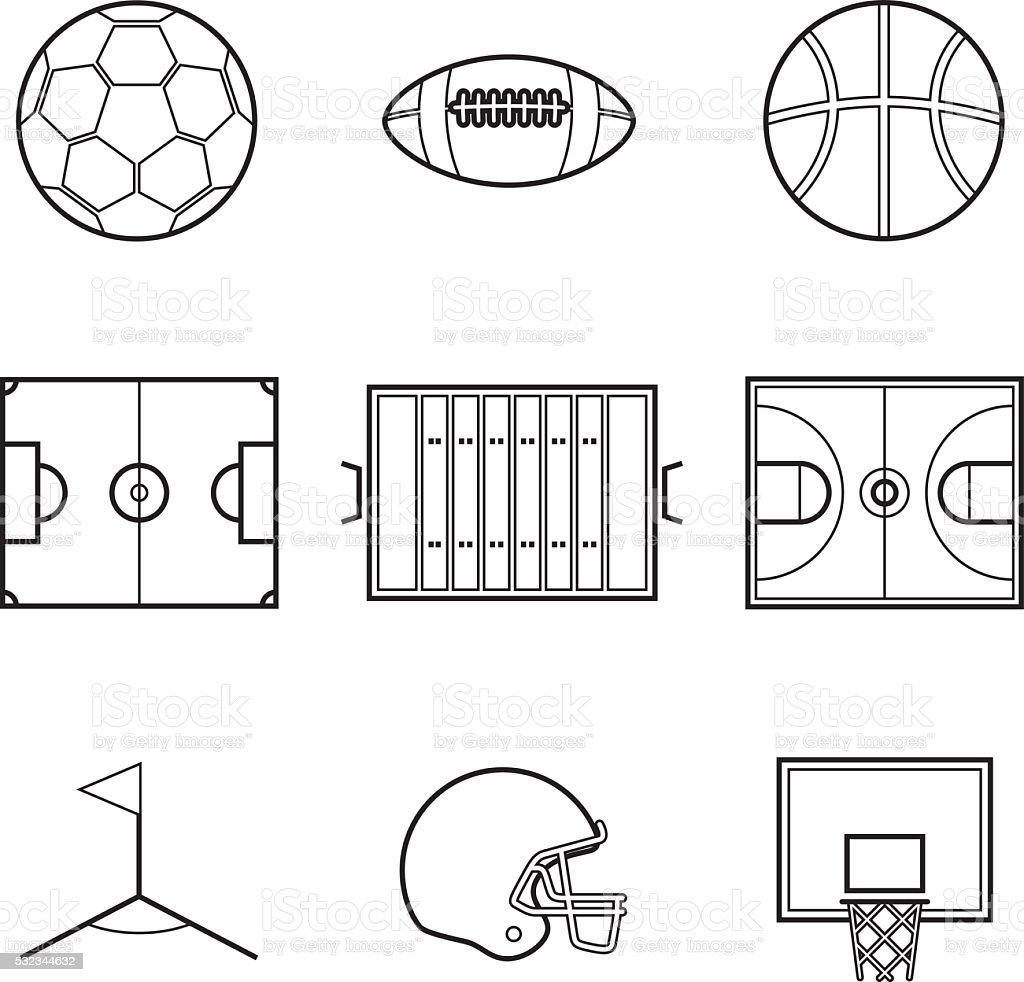 Soccer football and basket ball line Illustration set
