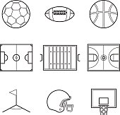 Soccer football and basket ball line Illustration set