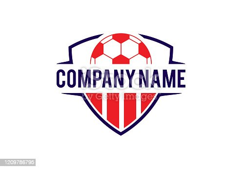 istock Soccer Football and shield designs 1209786795