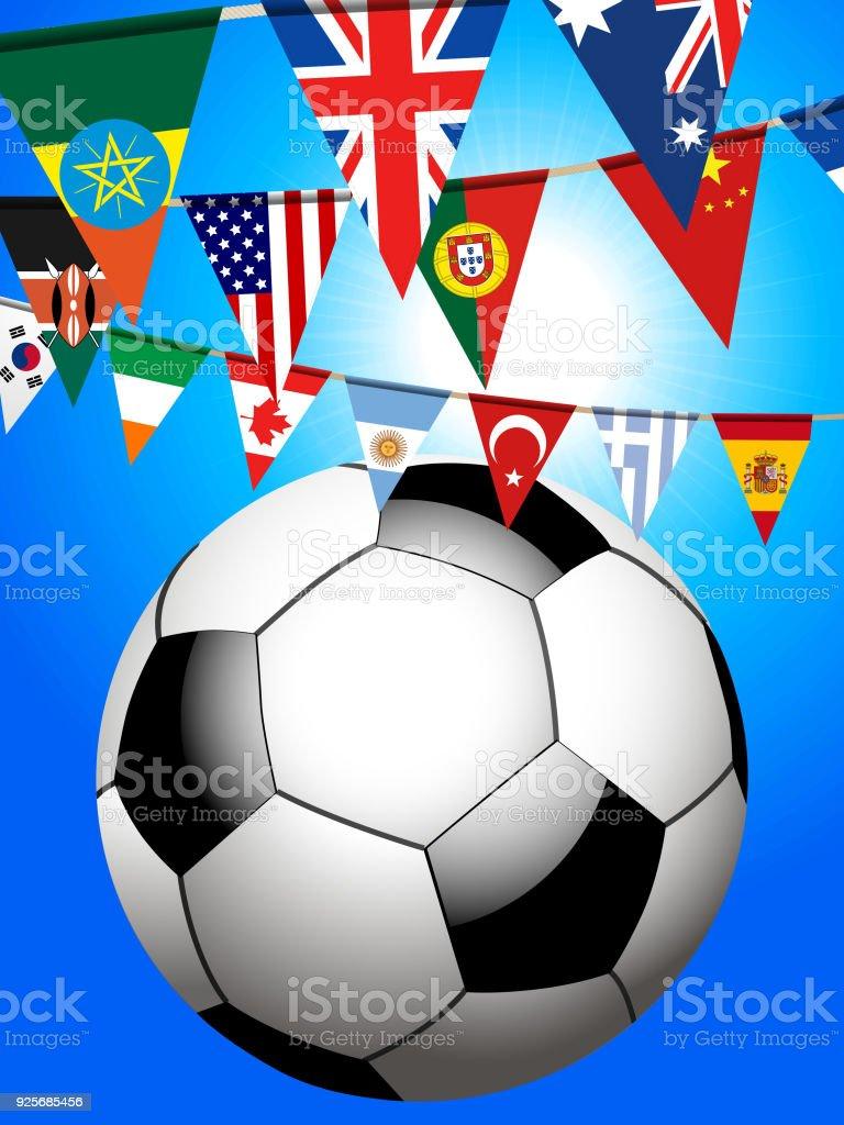 Fútbol Soccer y el mundo del empavesado fondo - ilustración de arte vectorial