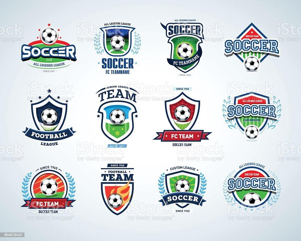Soccer football badge Logo design templates, sport logotype template. - ilustración de arte vectorial