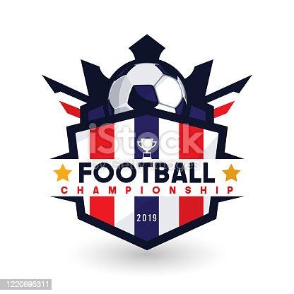 istock Soccer Football Badge Logo Design Templates | Sport Team Identity Vector Illustrations isolated on white Background 1220695311