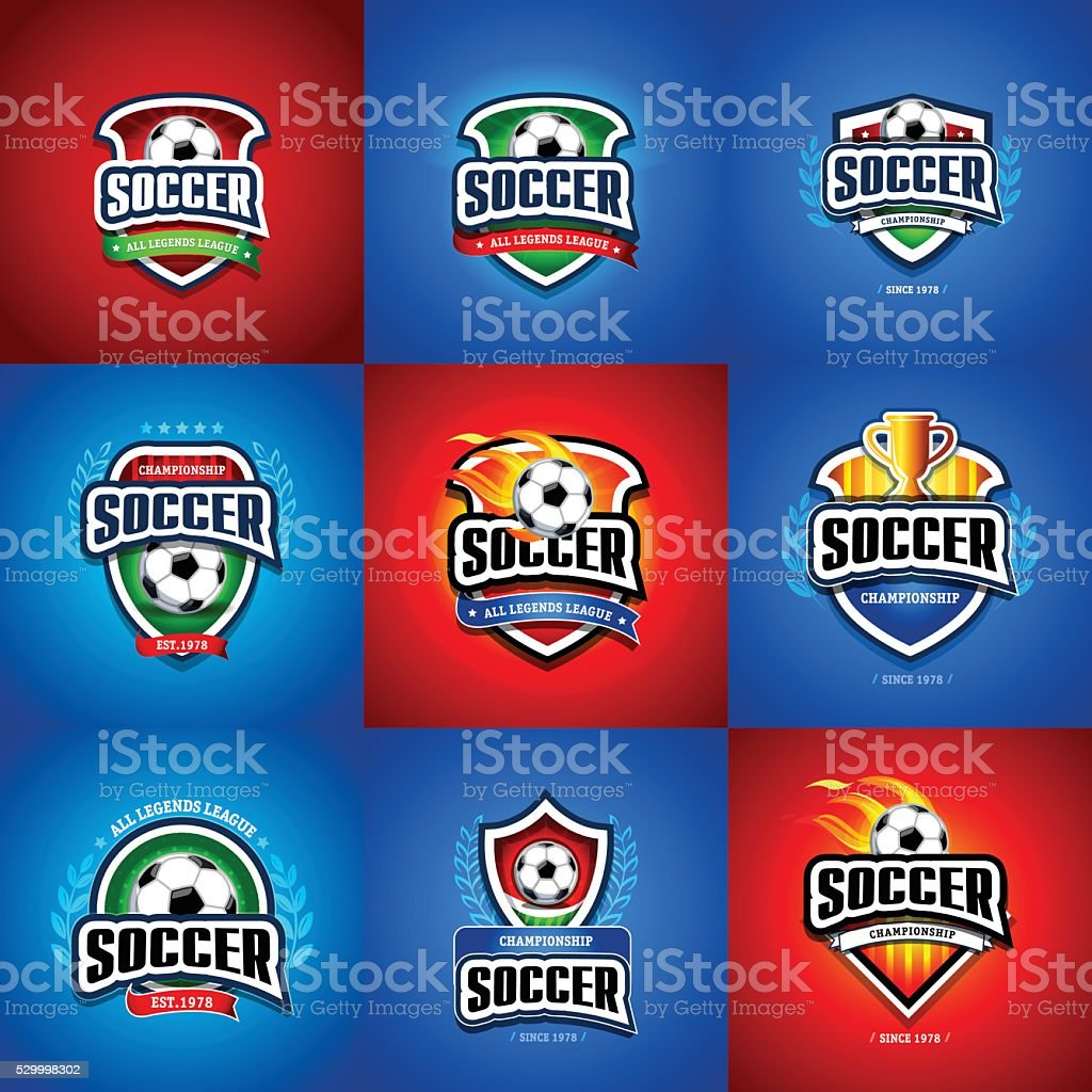 Soccer football badge Logo set design template, sport logotype template. vector art illustration