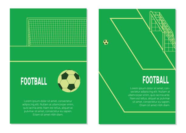 スタジアムでのペナルティスポットにサッカー/フットボールボール。異なるビューのポスター。フラットベクターイラスト - 校庭点のイラスト素材/クリップアート素材/マンガ素材/アイコン素材