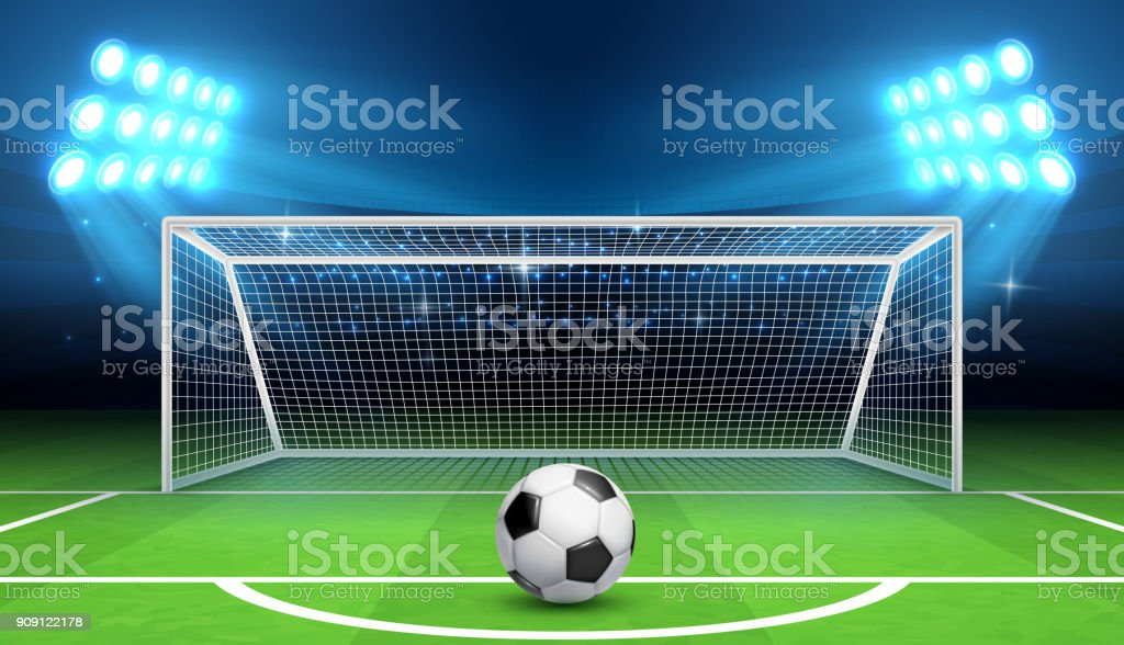 Soccer football championship vector background with sports ball and goals. Penalty kick concept vector art illustration