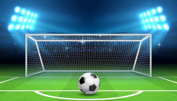 Fútbol Fútbol Campeonato vector fondo con juegos de pelota y objetivos. Concepto de tiro de pena - ilustración de arte vectorial