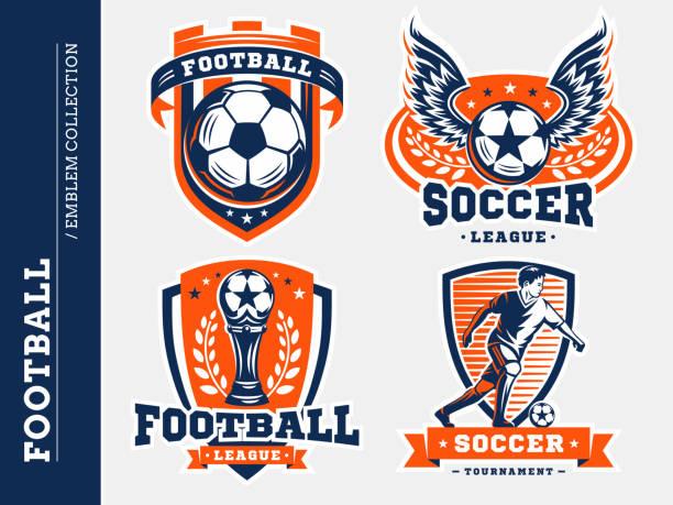 bildbanksillustrationer, clip art samt tecknat material och ikoner med fotboll fotboll emblem samlingar - fotboll