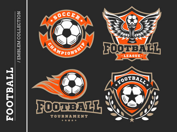 bildbanksillustrationer, clip art samt tecknat material och ikoner med fotboll fotboll emblem samlingar - fotboll eld