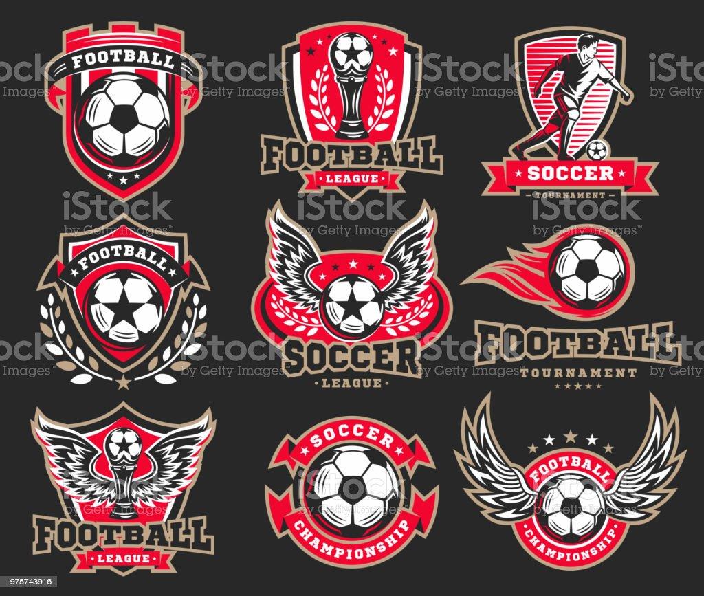 Fußball-Fußball-Emblem-Sammlungen - Lizenzfrei Abzeichen Vektorgrafik