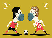Soccer / Football European in jeopardy. virus theme Football. Poster football players face each other with ball in Medical protective bandage. Europe League award Soccer ball vector illustration.