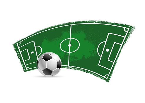 Soccer football field and ball grunge vector icon