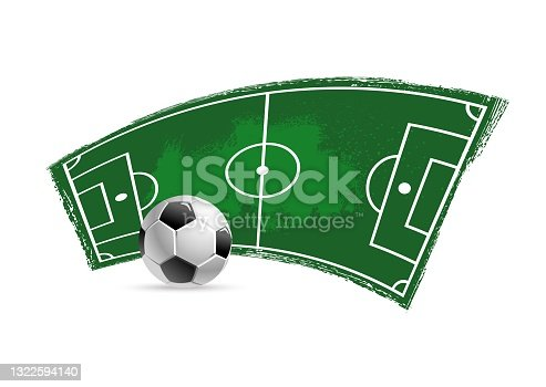 istock Soccer football field and ball grunge vector icon 1322594140