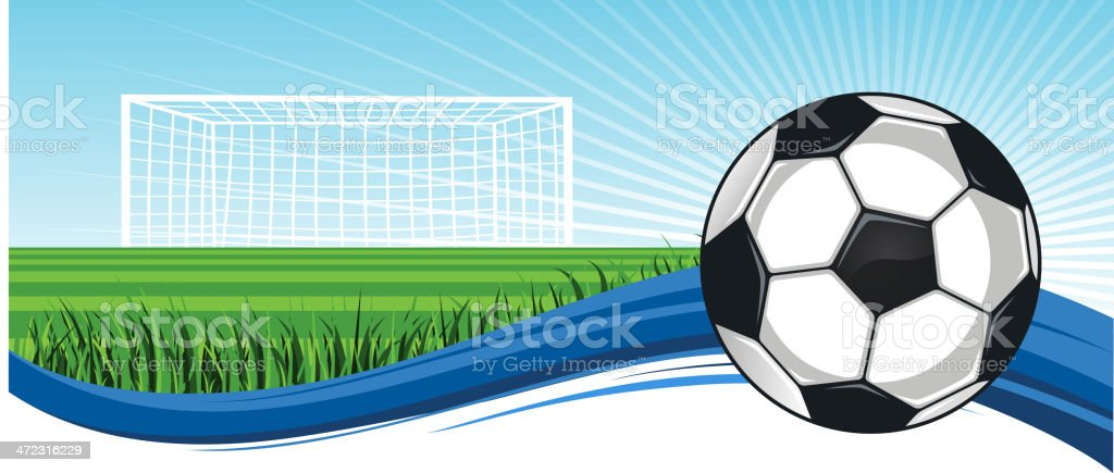 Soccer Football Field with ball up to score royalty-free stock vector art