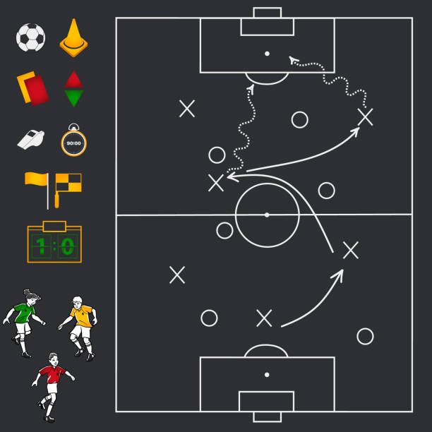 Soccer football field with icon set Black Soccer football field with icon set, whistle, stopwatch, yellow and red card, players, flag, ball, cone advanced tactical fighter stock illustrations