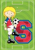 Soccer Football Girl Learning Letter S