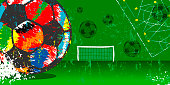 Soccer / Football grunge style illustration