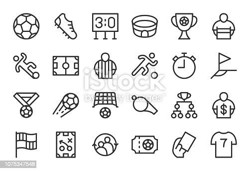 Soccer Football Icons Light Line Series Vector EPS File.