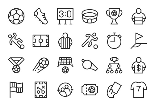 Soccer Football Icons - Light Line Series